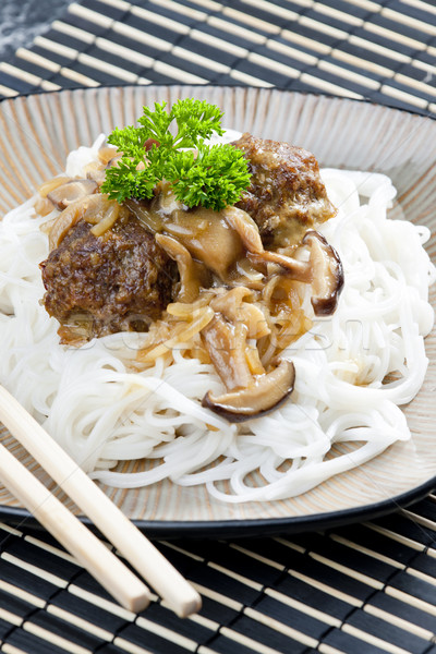 minced meat balls with mushrooms the Asian Stock photo © phbcz