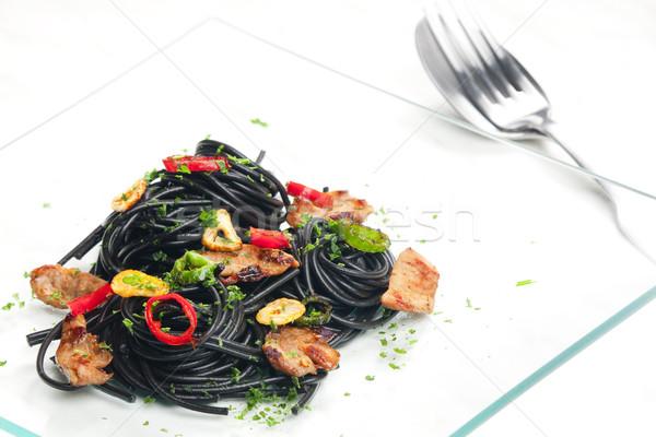 Szépia spagetti Törökország hús chilli étel Stock fotó © phbcz