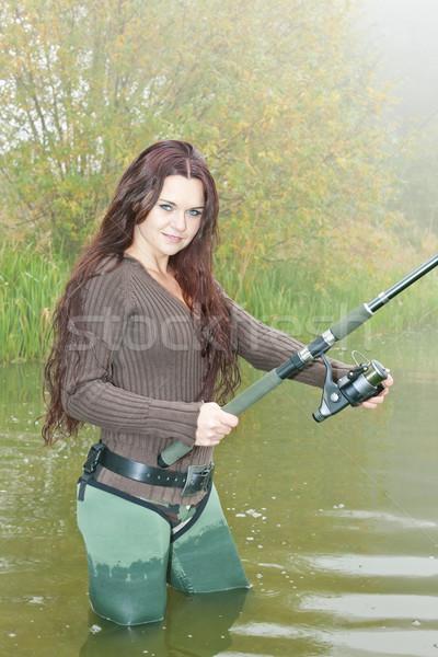женщину рыбалки пруд женщины осень молодые Сток-фото © phbcz