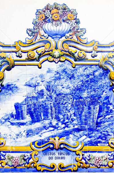 Tuiles gare vallée Portugal bleu peinture Photo stock © phbcz