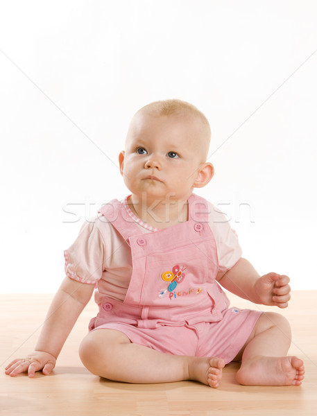 Kislány ül padló gyerekek gyermek lányok Stock fotó © phbcz