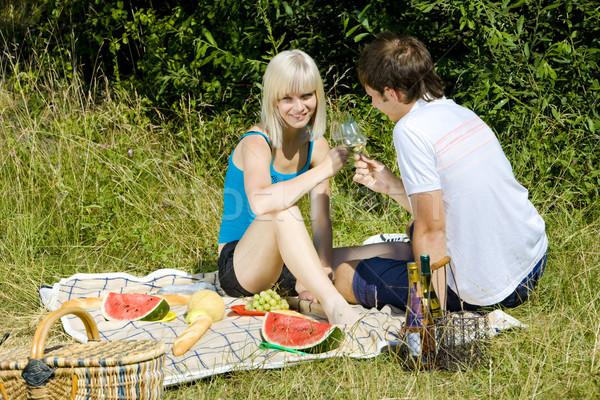 пару пикника женщину вино человека фрукты Сток-фото © phbcz