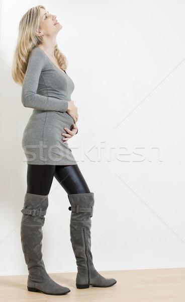 立って 妊婦 着用 ファッショナブル グレー ブーツ ストックフォト © phbcz
