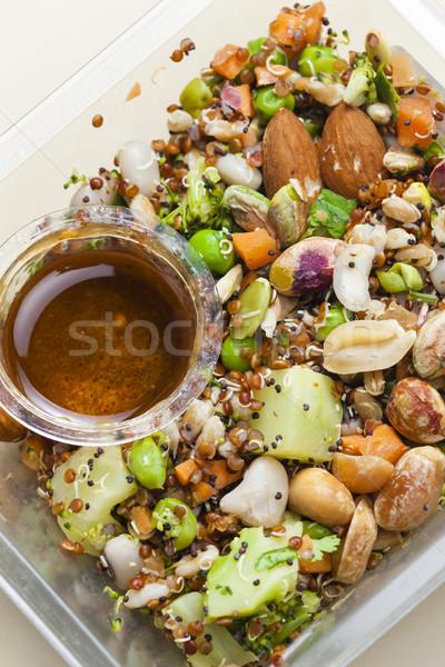 Saláta mandulák étel tányér zöldségek zöldség Stock fotó © phbcz