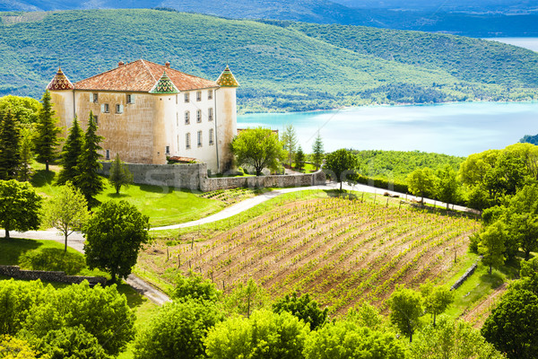 chateau in Aiguines and St Croix Lake at background, Var Departm Stock photo © phbcz