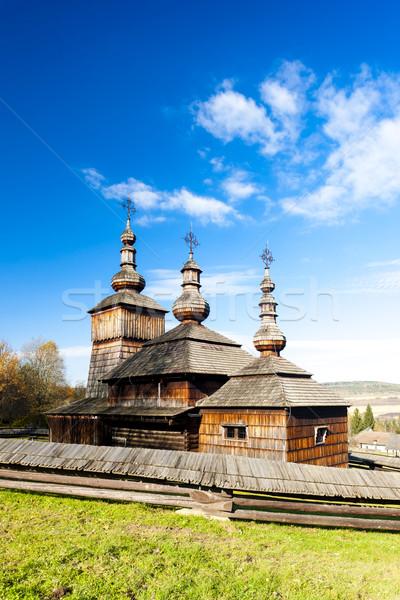 Houten kerk museum dorp Slowakije gebouw Stockfoto © phbcz