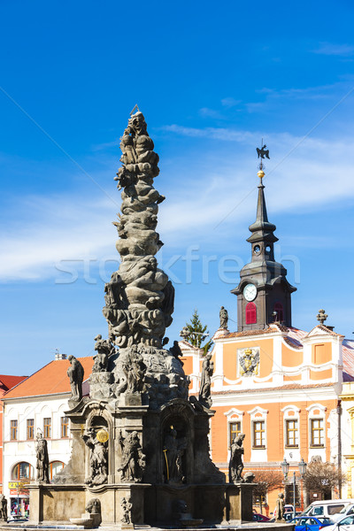 Vierkante Tsjechische Republiek huis architectuur geschiedenis kolom Stockfoto © phbcz
