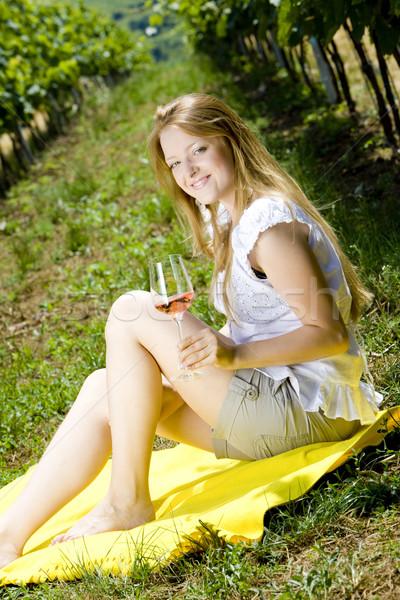 Mulher piquenique vinha vinho óculos jovem Foto stock © phbcz