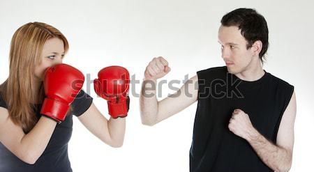 couple with boxing gloves Stock photo © phbcz