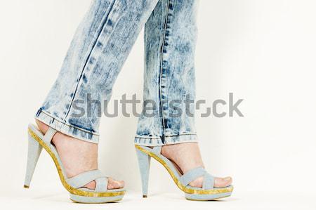 Detalle mujer denim zapatos de verano mujeres Foto stock © phbcz