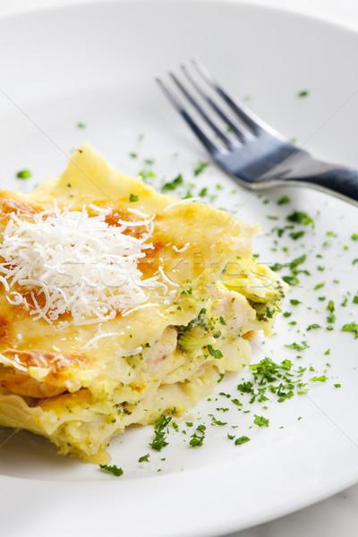 Lasagne broccoli pollo carne alimentare forcella Foto d'archivio © phbcz