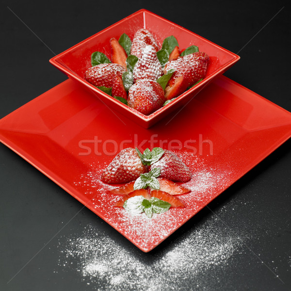 Stock photo: sugared strawberries with mint leaves
