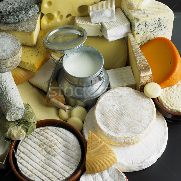 cheese still life with milk Stock photo © phbcz