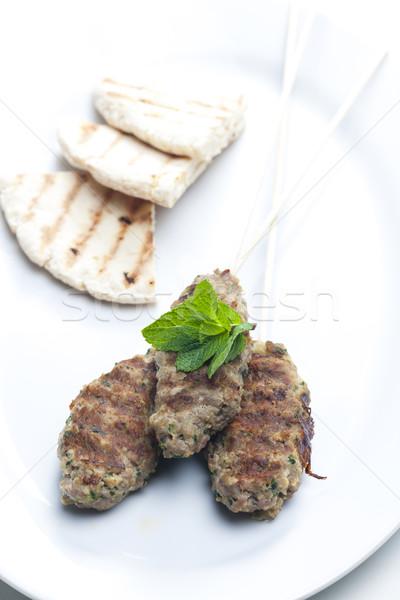 Montone kebab menta pita pane carne Foto d'archivio © phbcz