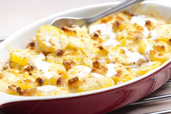 Crema patatas tocino placa cuchara Foto stock © phbcz