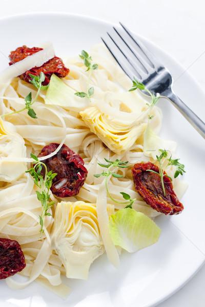 Stockfoto: Pasta · gedroogd · tomaten · plaat · tomaat · kruiden