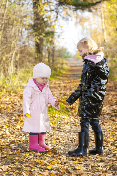 little girls wearing rubber boots in autumnal nature Stock photo © phbcz