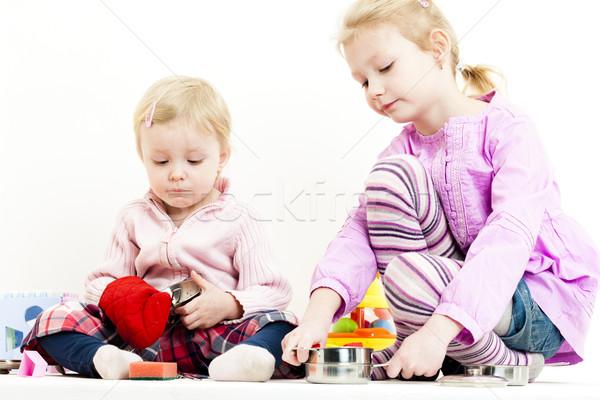 Kettő kislányok játszik gyermek edény jókedv Stock fotó © phbcz