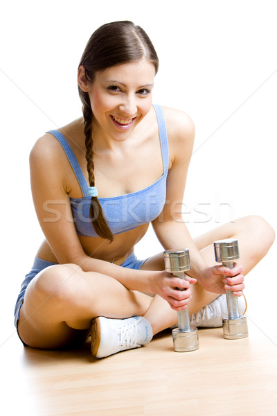 Vrouw stom gymnasium gezondheid sport ontspannen Stockfoto © phbcz
