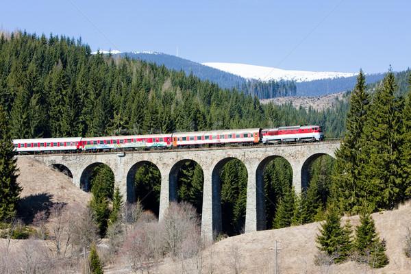 passenger train on railway viaduct near Telgart, Slovakia Stock photo © phbcz