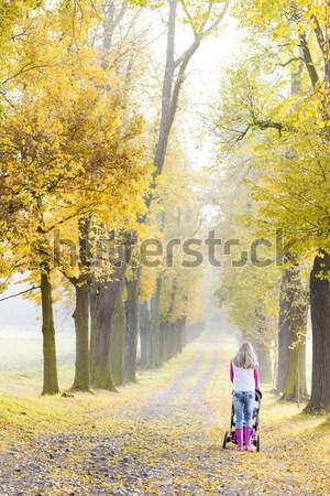 Nő babakocsi séta őszi sikátor baba Stock fotó © phbcz