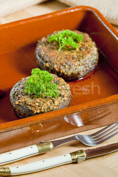 baked champignons filled with peanuts mixture Stock photo © phbcz