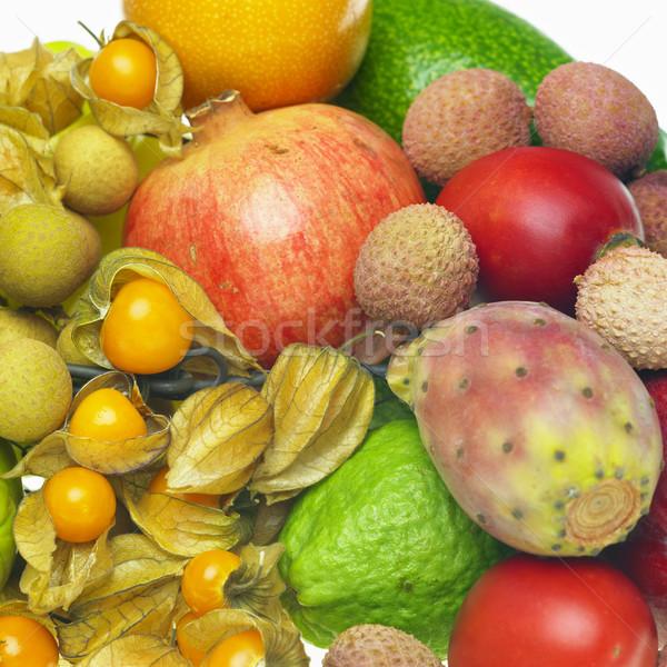 Trópusi gyümölcs csendélet gyümölcs egészség háttér belső Stock fotó © phbcz