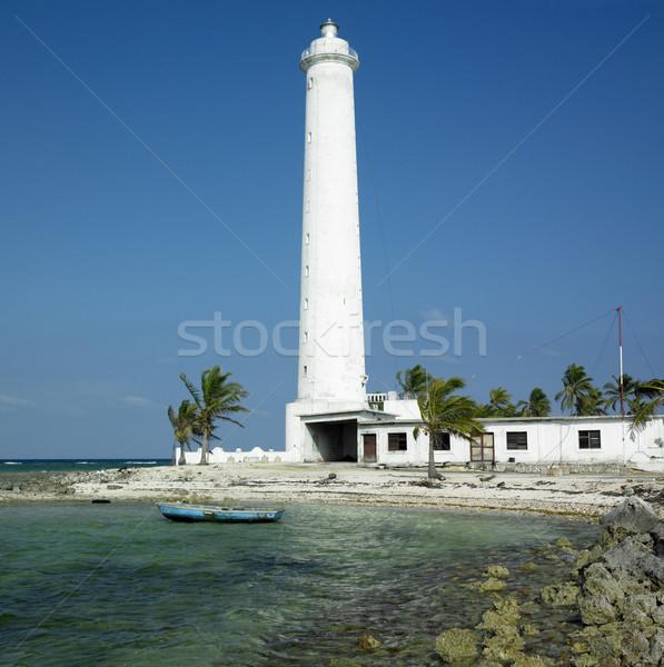 Stockfoto: Vuurtoren · Cuba · gebouw · veiligheid · palmboom · palmbomen