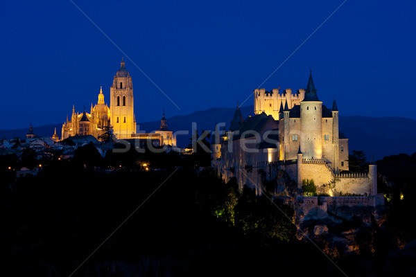 Segovia at night, Castile and Leon, Spain Stock photo © phbcz