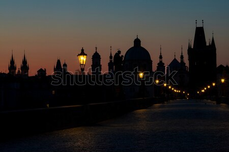 Charles bridge at dawn, Prague, Czech Republic Stock photo © phbcz