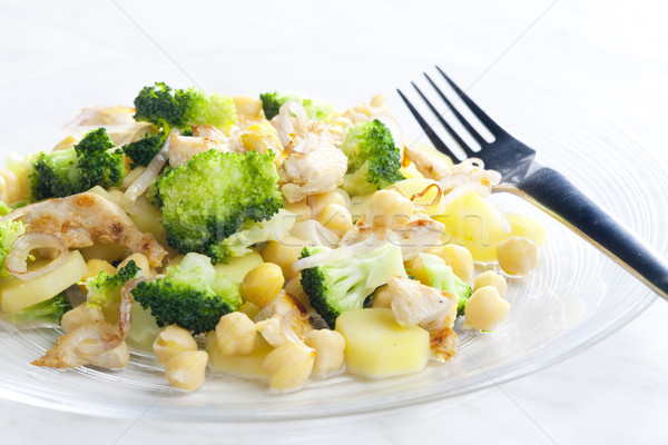 chicken meat with broccoli, chick peas and potatoes Stock photo © phbcz
