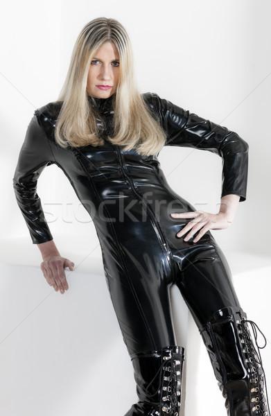 Portré ül nő visel extravagáns ruházat Stock fotó © phbcz