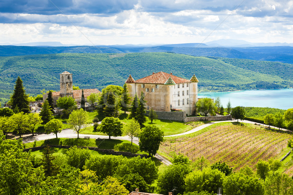 chateau and church in Aiguines and St Croix Lake at background,  Stock photo © phbcz