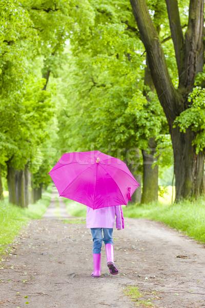 Little girl guarda-chuva primavera beco Foto stock © phbcz