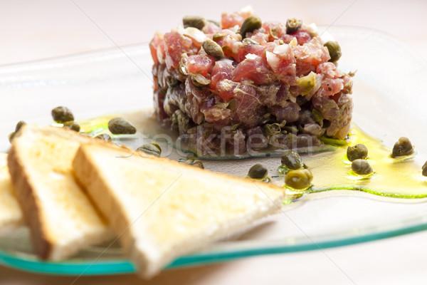 Atum Óleo prato brinde refeição saudável Foto stock © phbcz