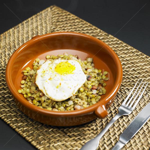 Yeni yıl sahanda yumurta gıda yumurta Stok fotoğraf © phbcz