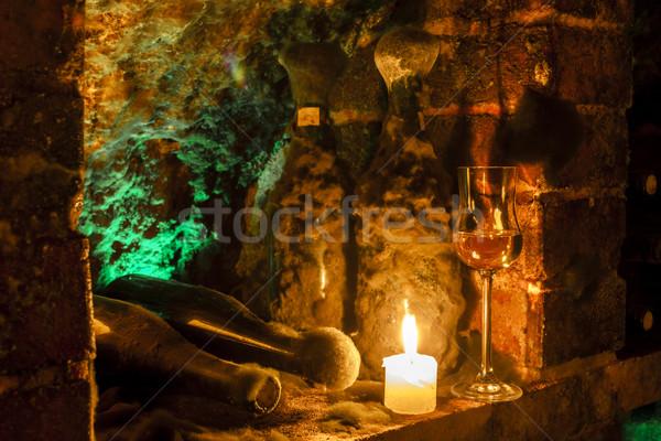 Bor archívum borospince régió Szlovákia gyertya Stock fotó © phbcz