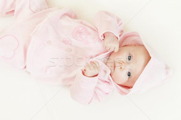 Három hónapok öreg kislány lány baba Stock fotó © phbcz