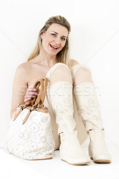 ül nő visel nyár ruházat csizma Stock fotó © phbcz