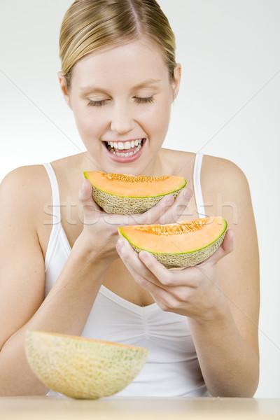 Ritratto donna acqua melone frutti giovani Foto d'archivio © phbcz
