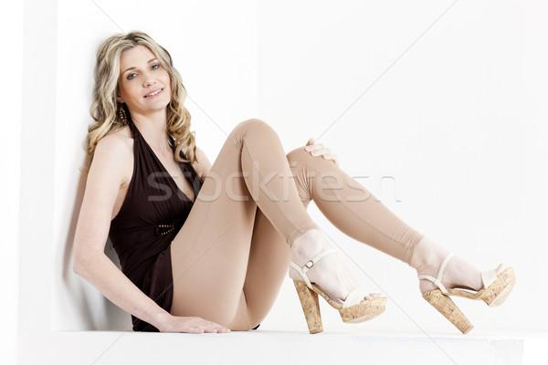 Vergadering vrouw zomer kleding schoenen Stockfoto © phbcz