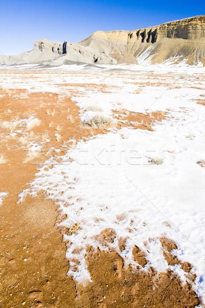 Tél tájkép Utah USA hó kő Stock fotó © phbcz