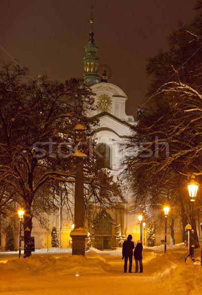 Церкви предположение Прага Чешская республика снега зданий Сток-фото © phbcz
