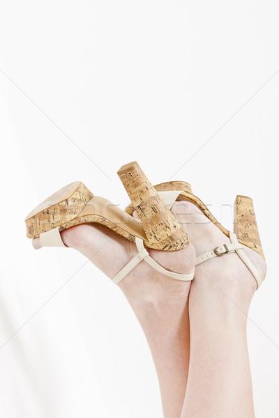 Detail vrouw zomerschoenen vrouwen stijl Stockfoto © phbcz
