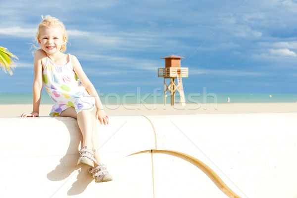 little girl on the beach in Narbonne Plage, Languedoc-Roussillon Stock photo © phbcz