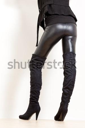 подробность Постоянный женщину наручники женщины черный Сток-фото © phbcz