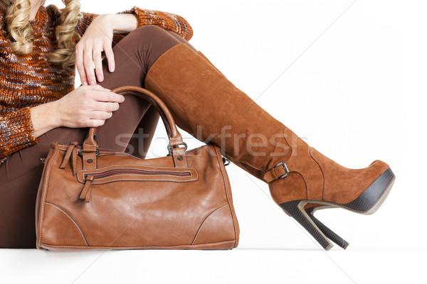 Stock fotó: Részlet · ül · nő · visel · barna · ruházat