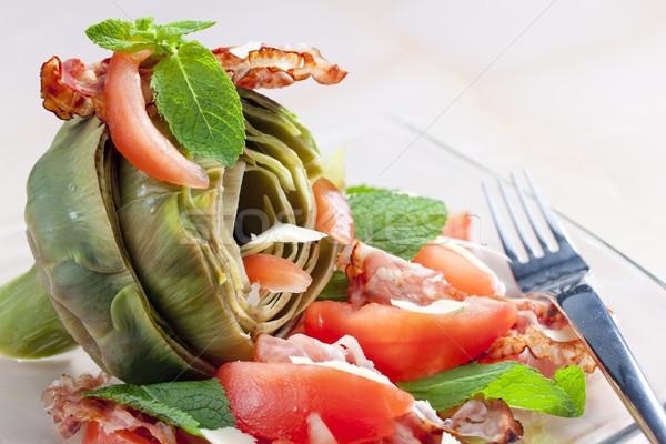 Cozinhado tomates queijo parmesão prato garfo legumes Foto stock © phbcz