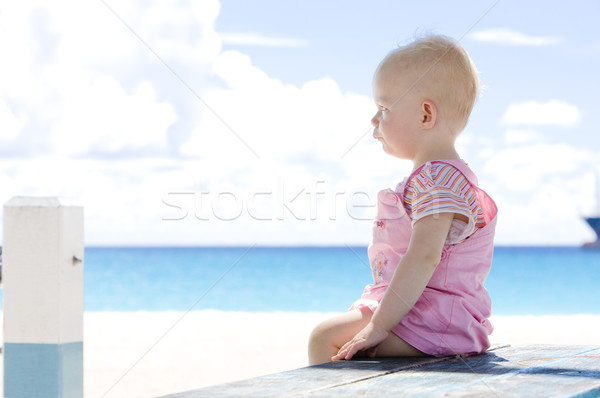 toddler on the beach, Barbados, Caribbean Stock photo © phbcz