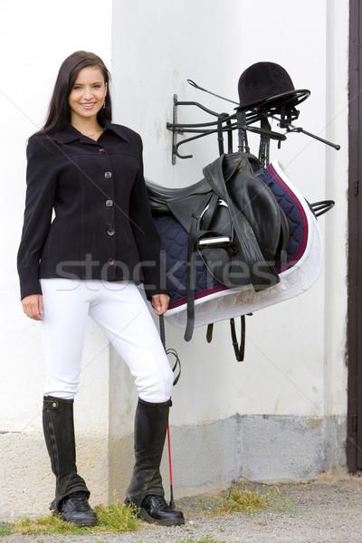 Eyer kadın genç şapka tek başına Stok fotoğraf © phbcz